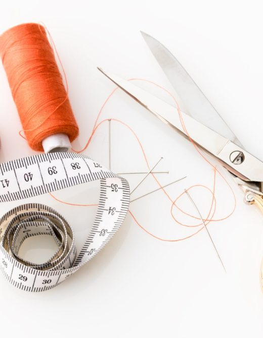 scissors, measuring tape, thread
