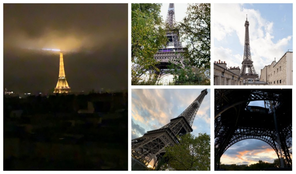 5 different photos of the Eiffel Tower