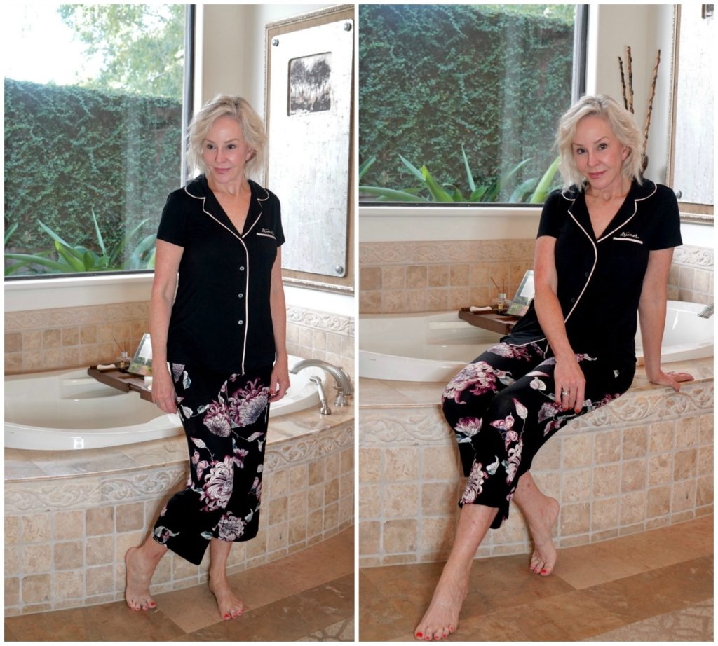 SheShe of the SheShe Show wearing 2 pc Soma pajama set sitting on bathtub