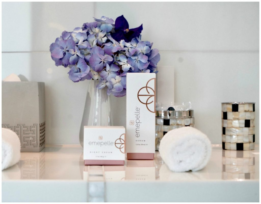 Emepelle skin care products on counter
