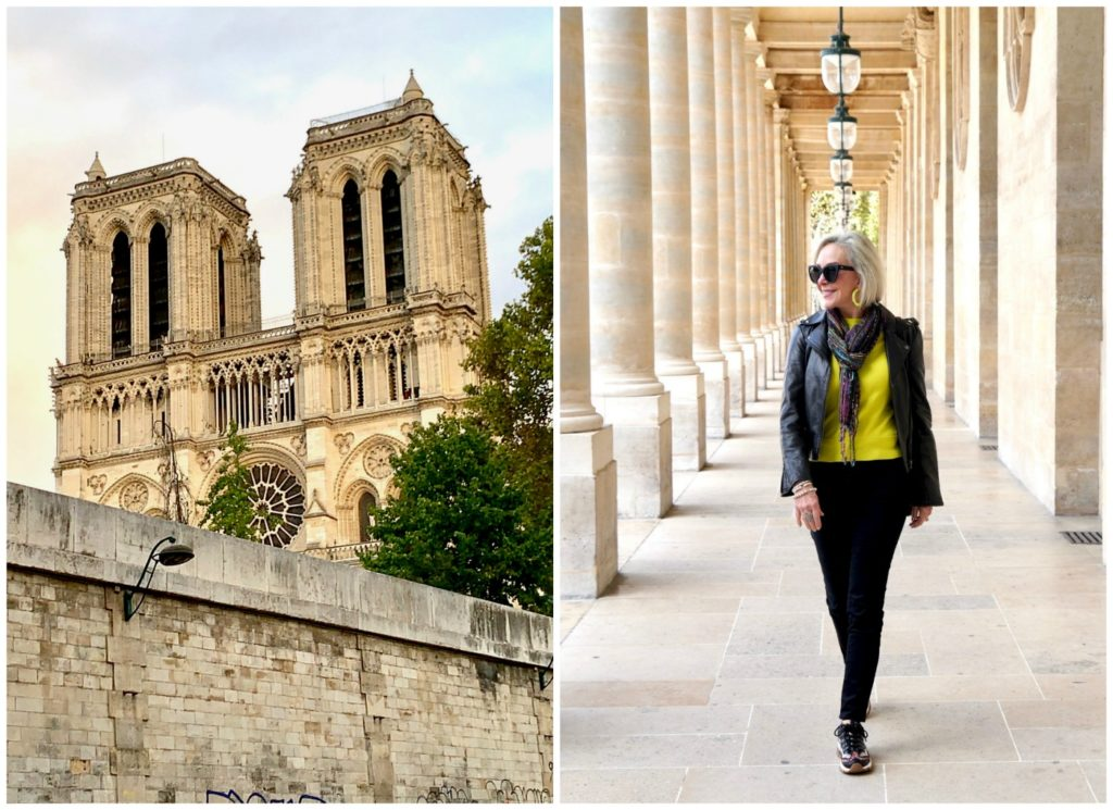 Notre Dame in left photo and Sheree of the SheSheShow at the Palais de Royal Paris