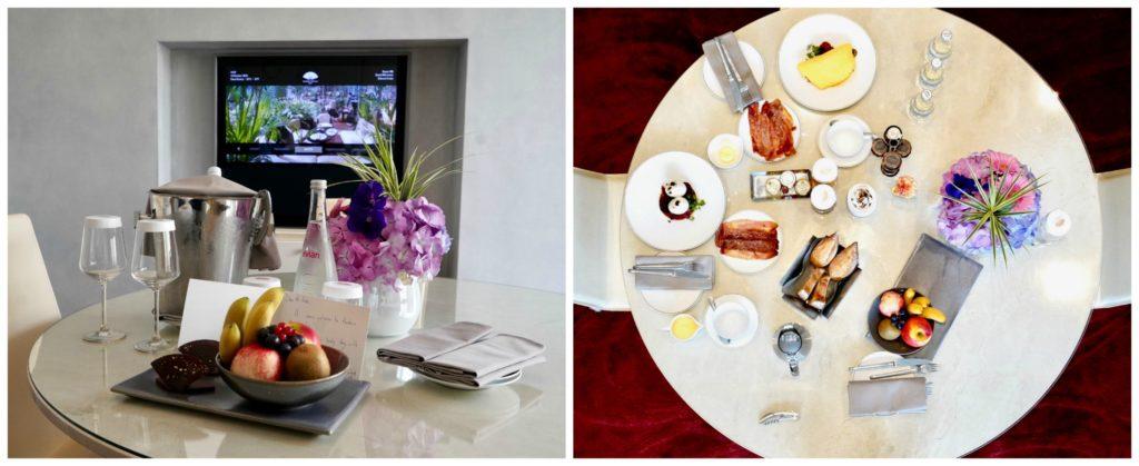 Welcome champagne and snacks & breakfast room service Mandarin Oriental Paris