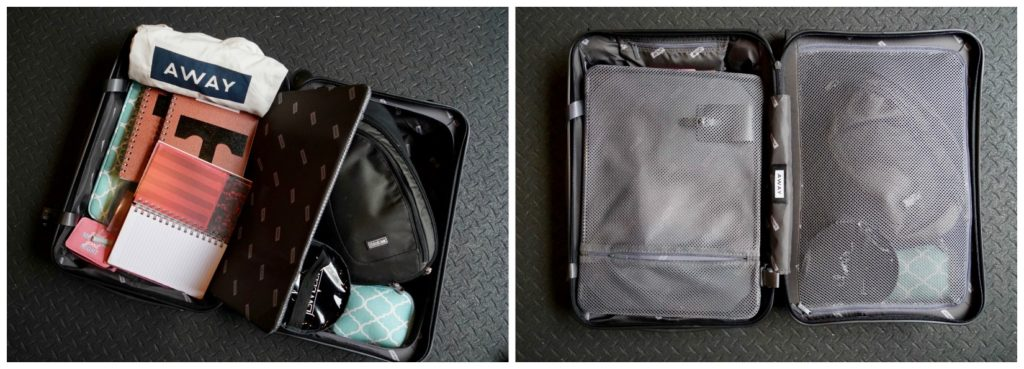 roll on bag with camera, jewelry, chargers, workbooks