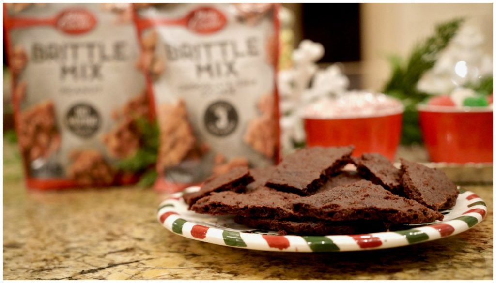 Betty Crocker Brittle Mix with a plate of Brittle Brownie Mix on kitchen counter
