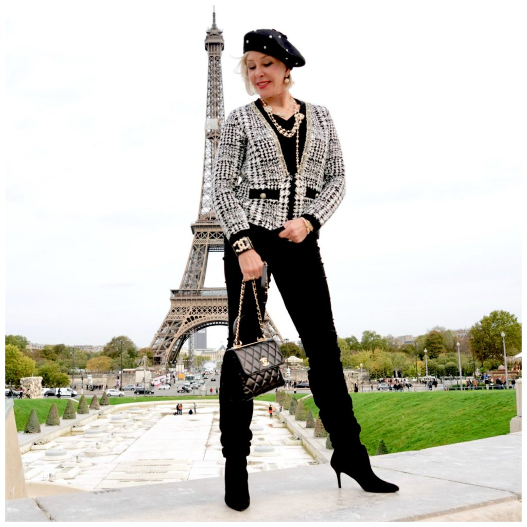 Sheree of sheshe show wearing chico's outfit in front of eiffel tower