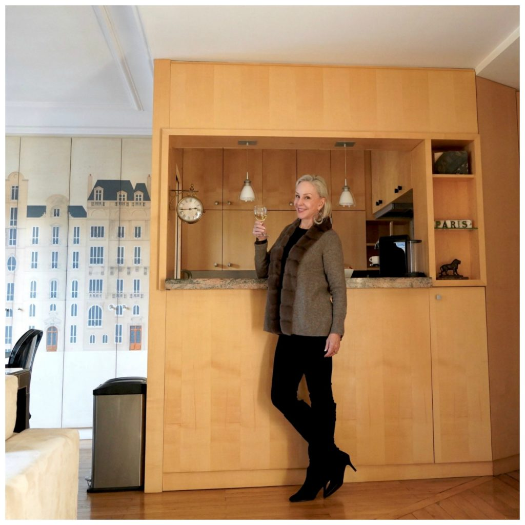 Sheree wearing soft surroundings outfit in Paris Perfect Apartment