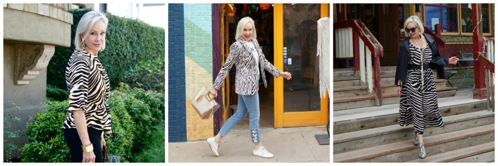 Sheree of the SheShe Show wearing zebra print in 3 photos, zebra top, zebra slip dress,