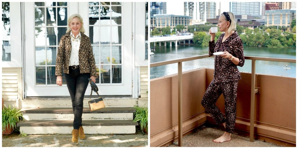 SheShe of the SheShe Show wearing a leopard moto jacket and in other photo wearing leopard lounge set