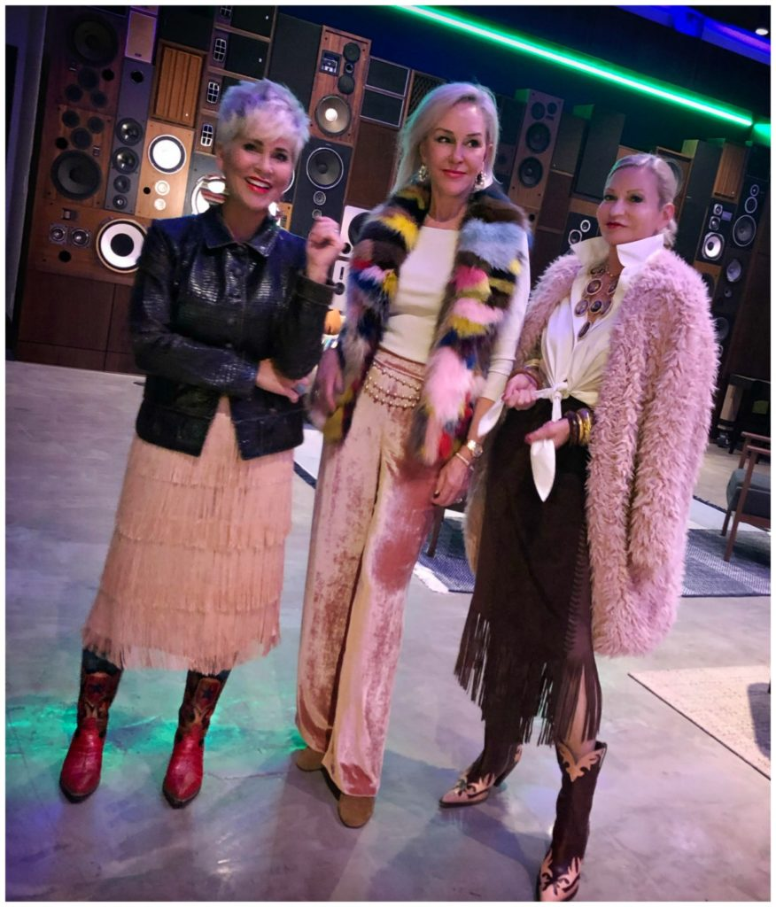 Shauna, SheShe & Jamie dressed in shades of pink and fur