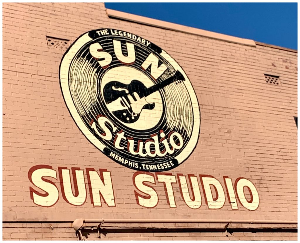 Sun Studio sign on side of building in Memphis, TN