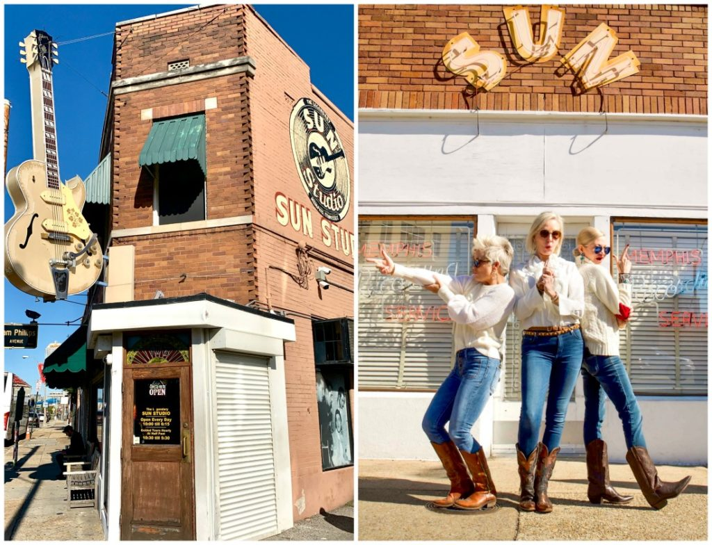 Outside photo of Sun Studios and photo of Shauna, SheShe and Jamie posed like Charlie's Angels at Sun Studios