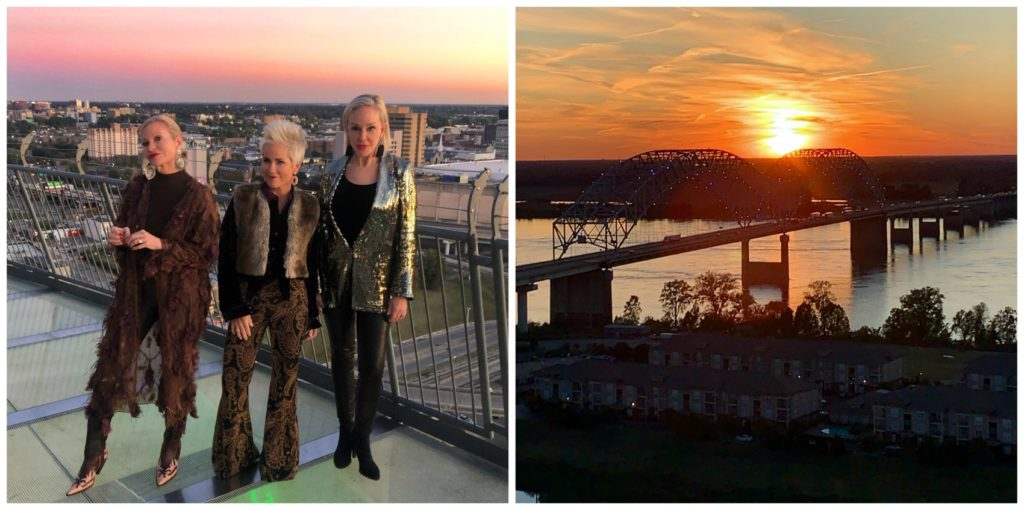 Jamie, Shauna, & SheShe standing on the Cypress Lodge Hotel in Memphis, TN and Mississippi River sunset