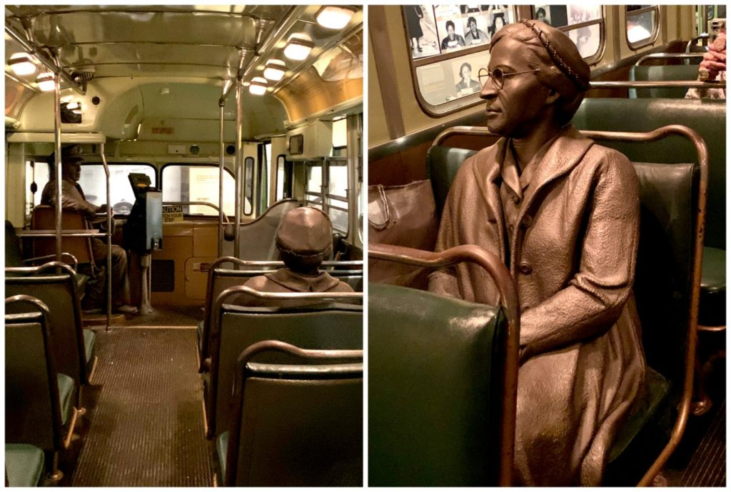 Rosa Parks in bus bronzes, National Civil Rights Museum