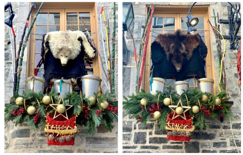 2 phjotos of a windowsill decorated with bear rugs