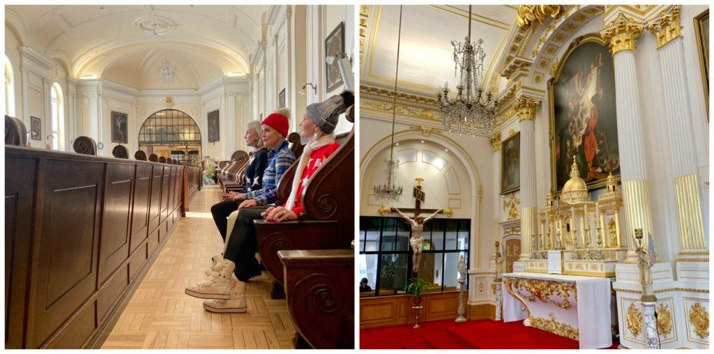 2 photos in choir room inside Monestere Quebec City
