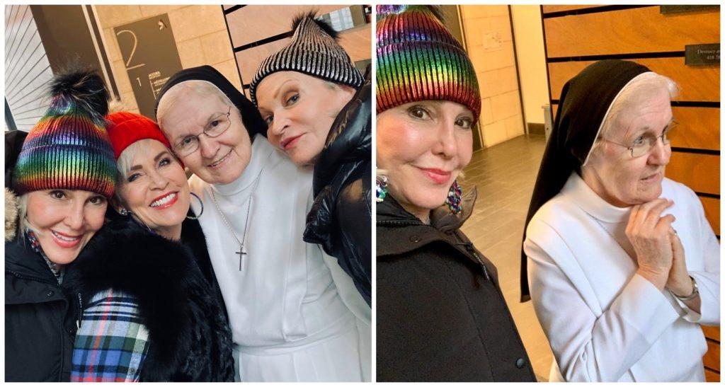 2 photos of Sister Louiza with Sheree, Jamie and Shauna