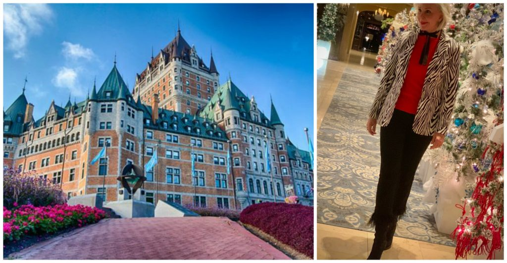 Photo of Fairmont Hotel Fontenac Quebec City and Sheree of SheSheShow standing by Christmas trees inside hotel