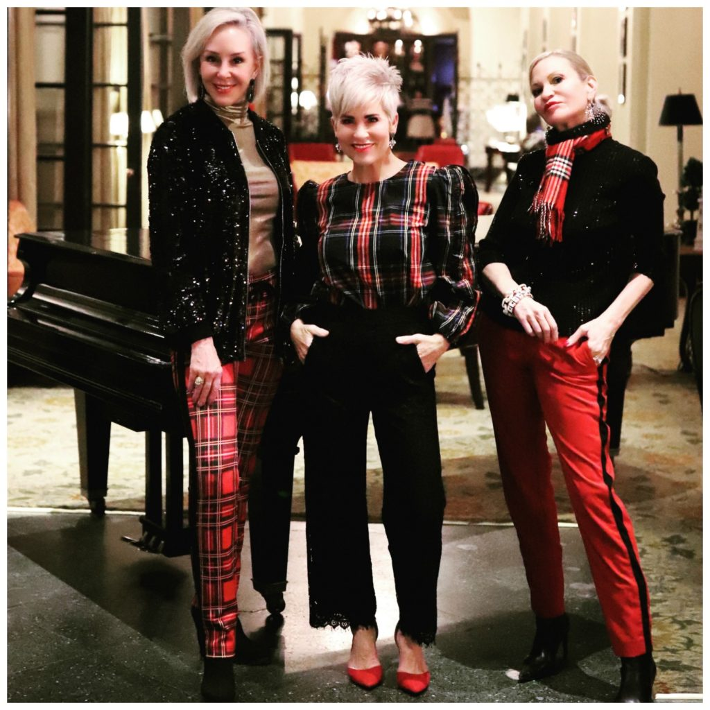 Sheree, Shauna & Jamie wearing red and black plaid holiday outfits