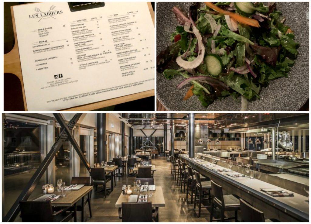 Les Labour restaurant, salad and menu