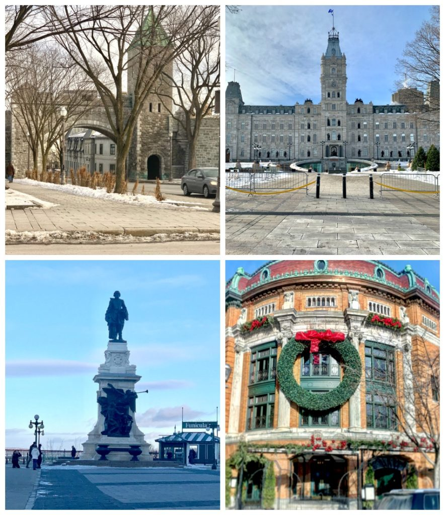 4 photos of old Quebec City buildings and gate into Old Quebec City