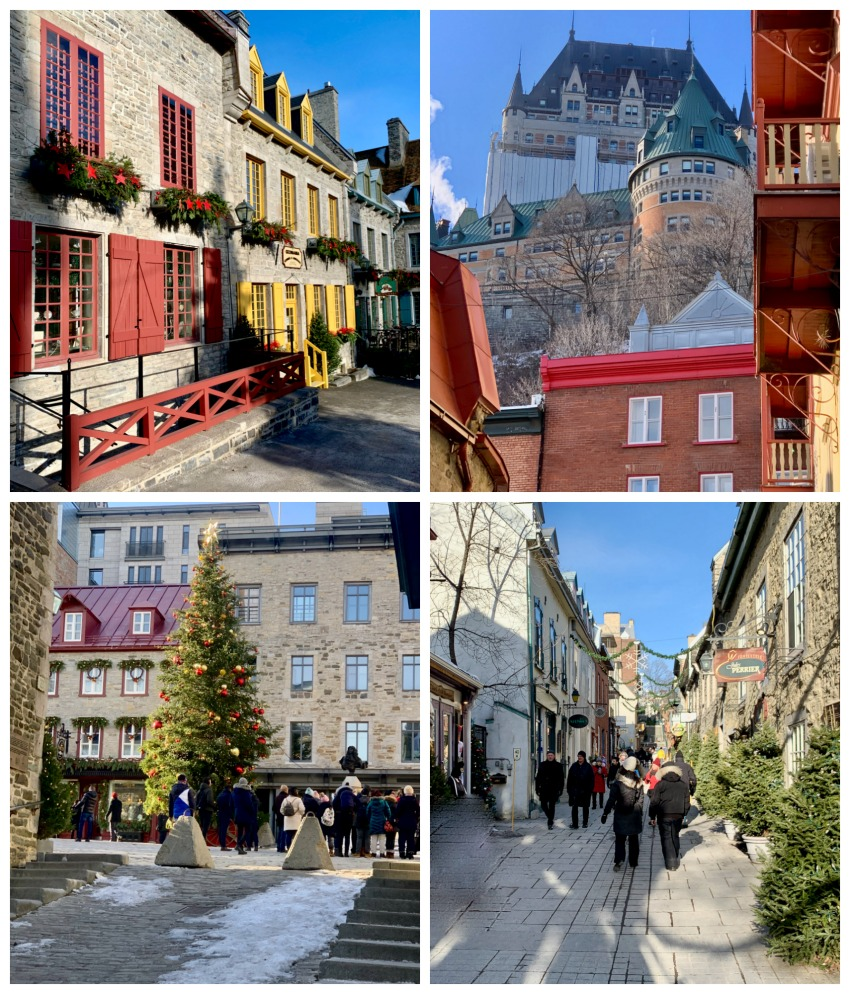 4 photos of building in historic streets of Old Quebec City