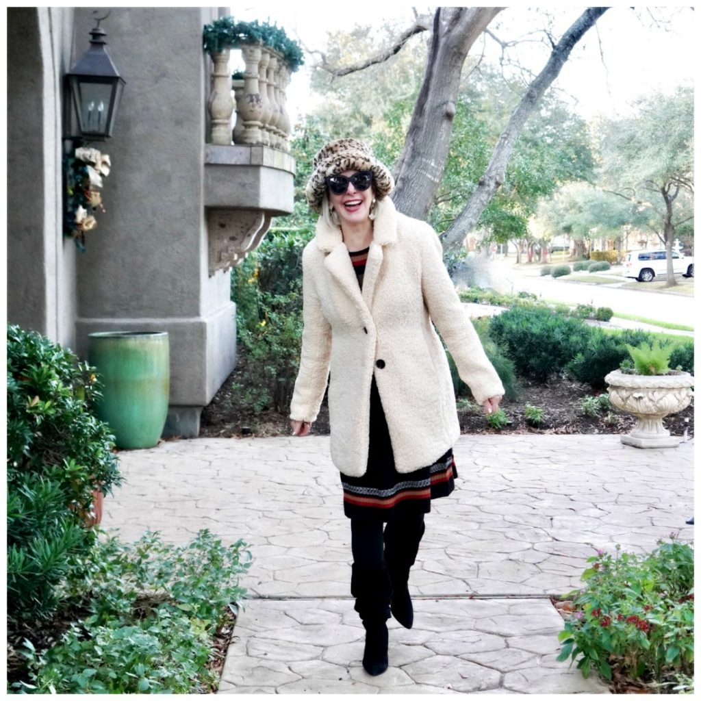 Sheree in a teddy coat