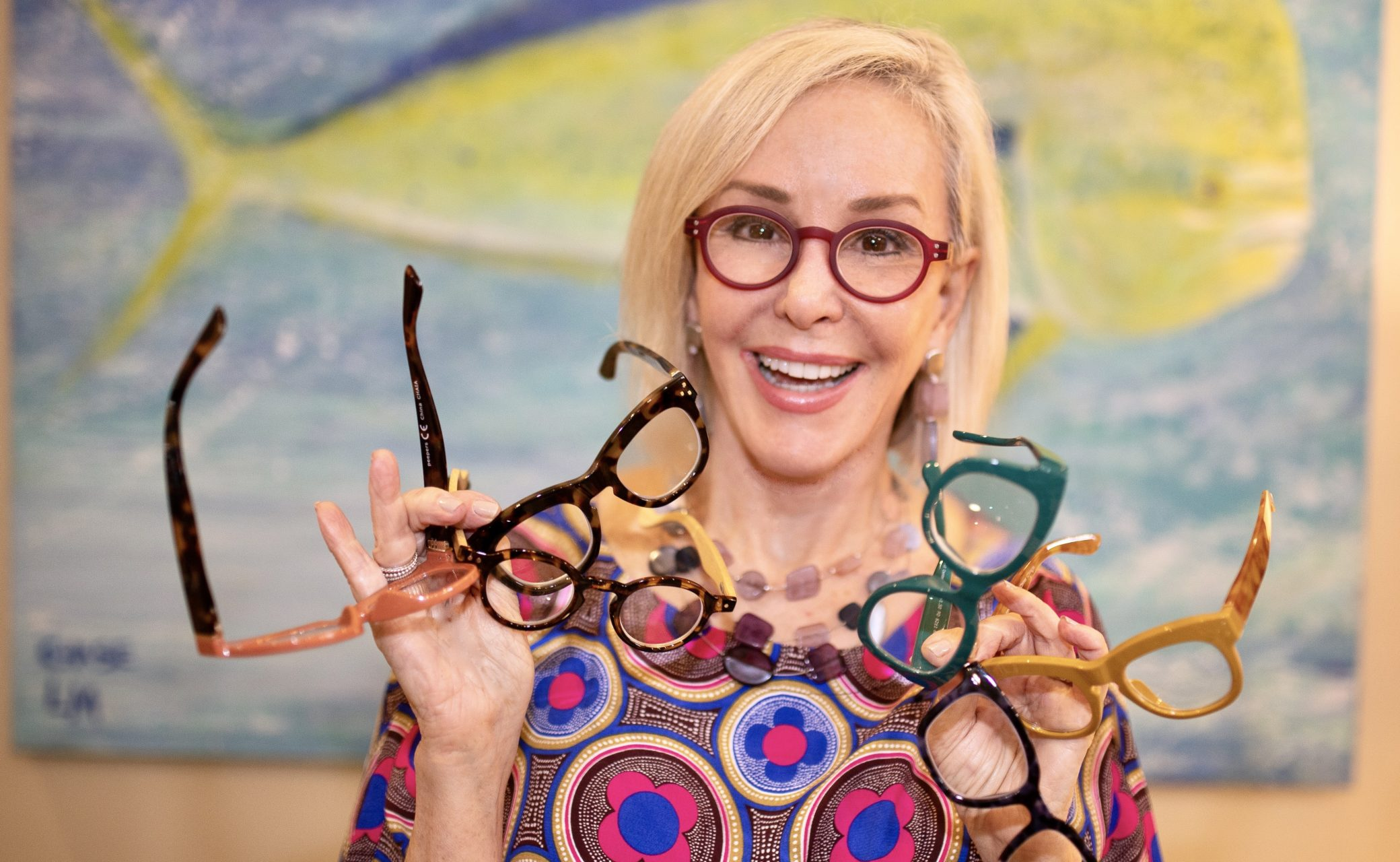 Sheree of the SheSheShow looking at camera wearing large framed eyewear by Peepers
