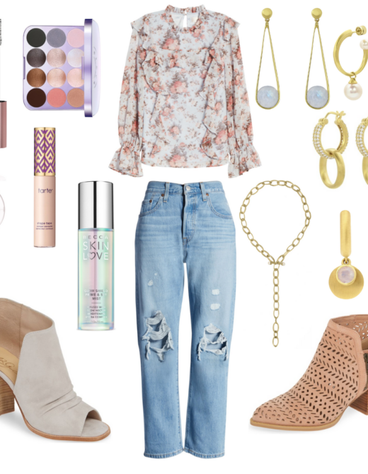 Friday's Favorite Finds with floral top, distressed jeans, booties, dean davidson jewelry, and neutral make up.