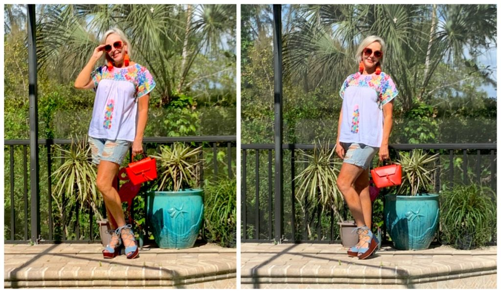 Double photo of Sheree Frede of the SheShe Show wearing white floral embroidered top over denim shorts