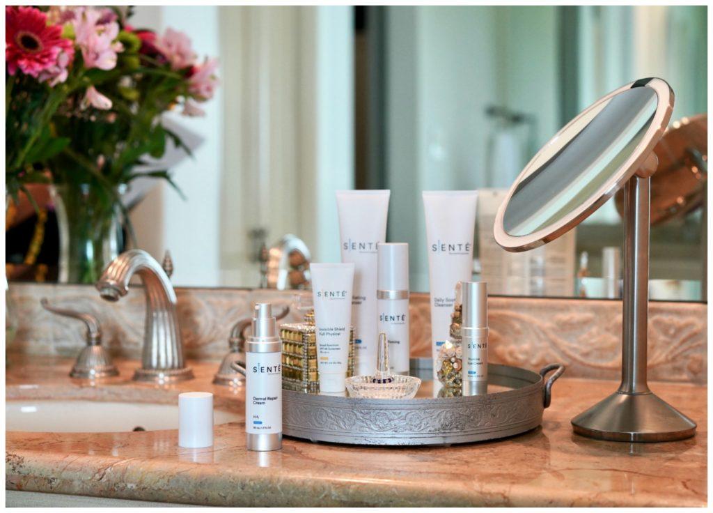 Senté skin care sitting on bathroom counter