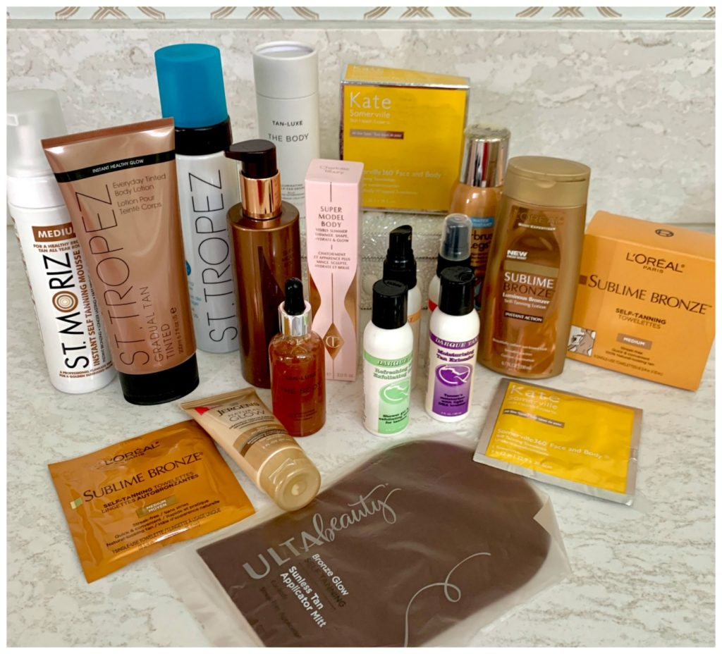 A variety of sel tanning products on display