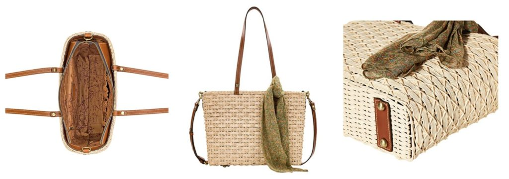 straw bag with leather trim by Patricia Nash