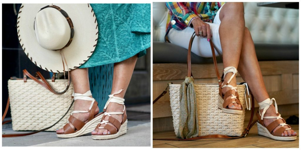 Patricia Nash straw tote and espadrilles