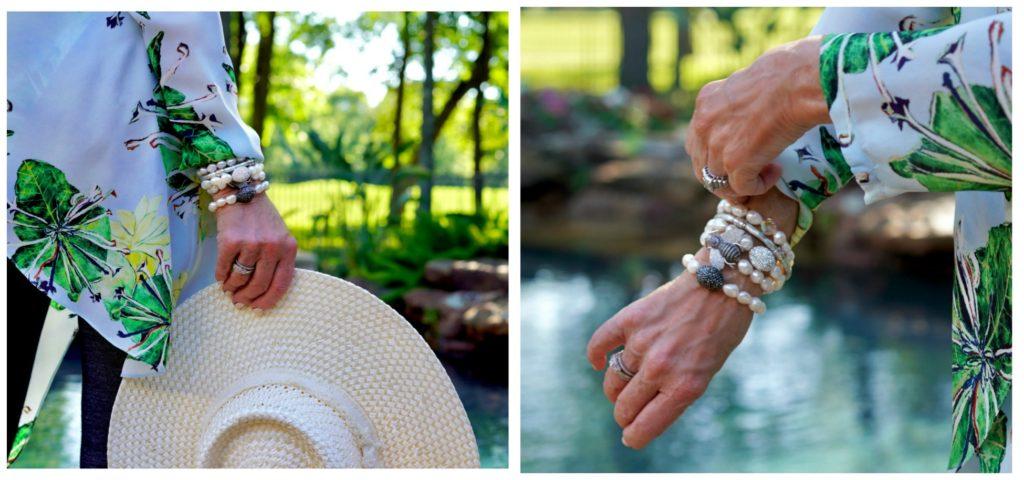 wrist stack of pearl bracelets