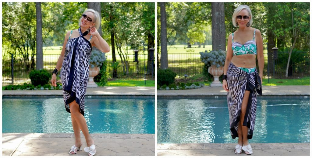 2 photos of Sheree of the SheShe Show wearing a sarong around er waist and as a dress