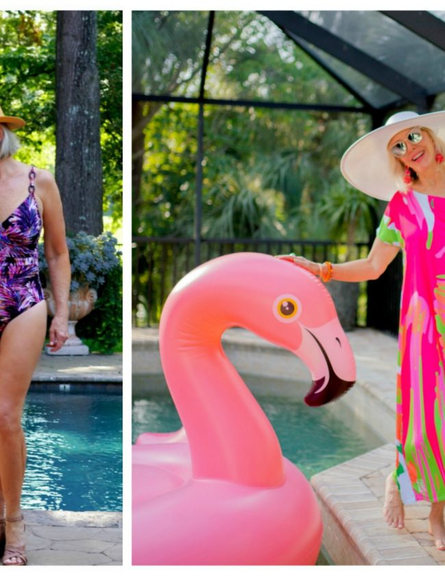 Sheree Frede by swimming pool in 2 photos, 1 piece swimsuit and hot pink print swimsuit coverup