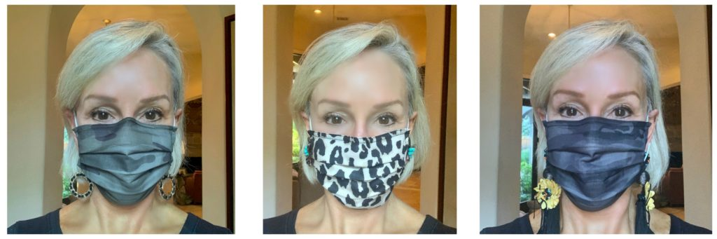 3 photos of Sheree of the SheShe Show wearing camo and leopard facemasks