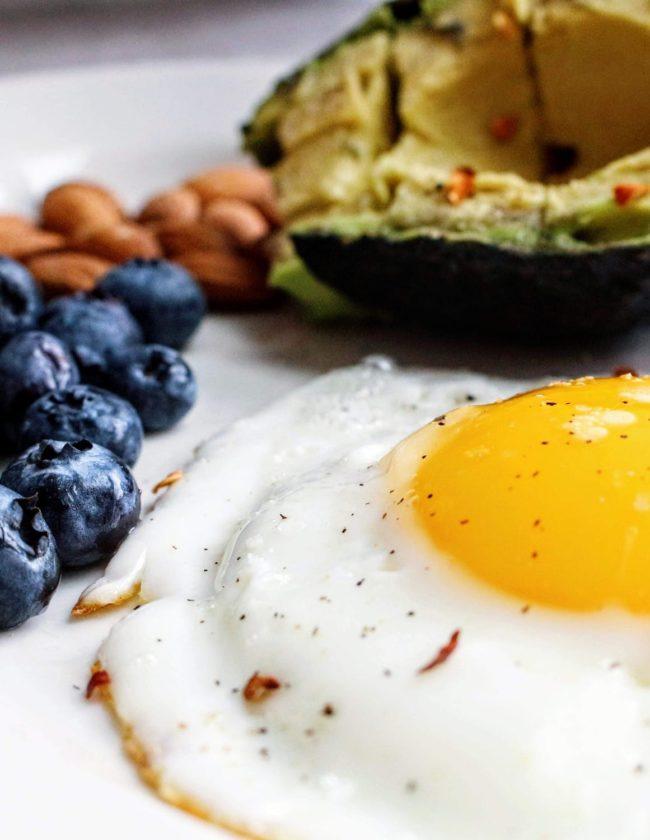 avocado, poached egg, blueberries