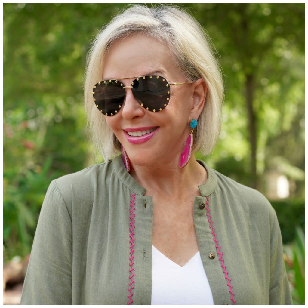 Sheree Frede of the SheSheShow wearing Bvaggs statement sunglasses