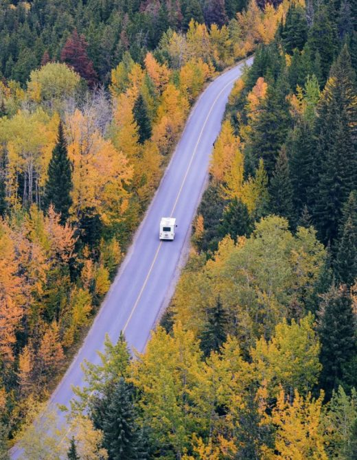 rv traveling down highway