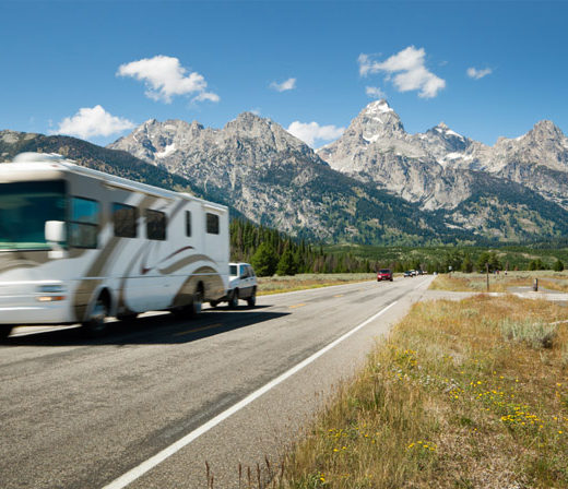 Travel RV driving down the highway