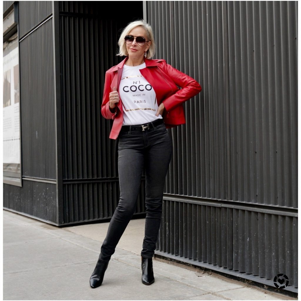 sheree frede in leather red jacket