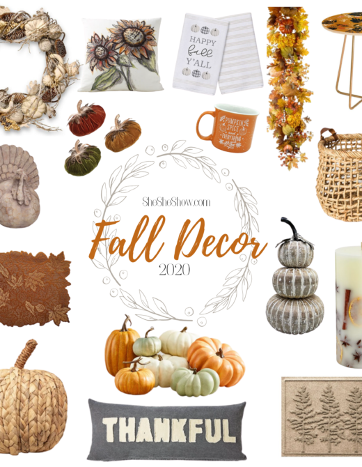 collage of fall home decorations