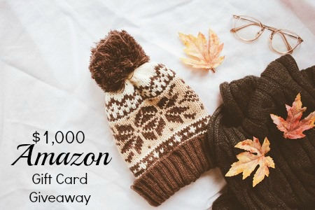 winter cap and text $1000 Amazon Gift card Giveaway