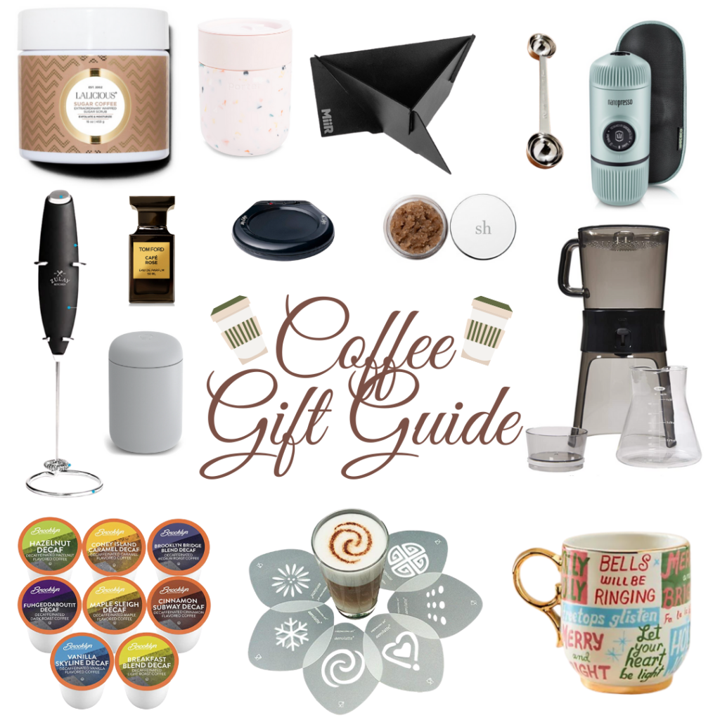 A collage of gifts for the coffee lover
