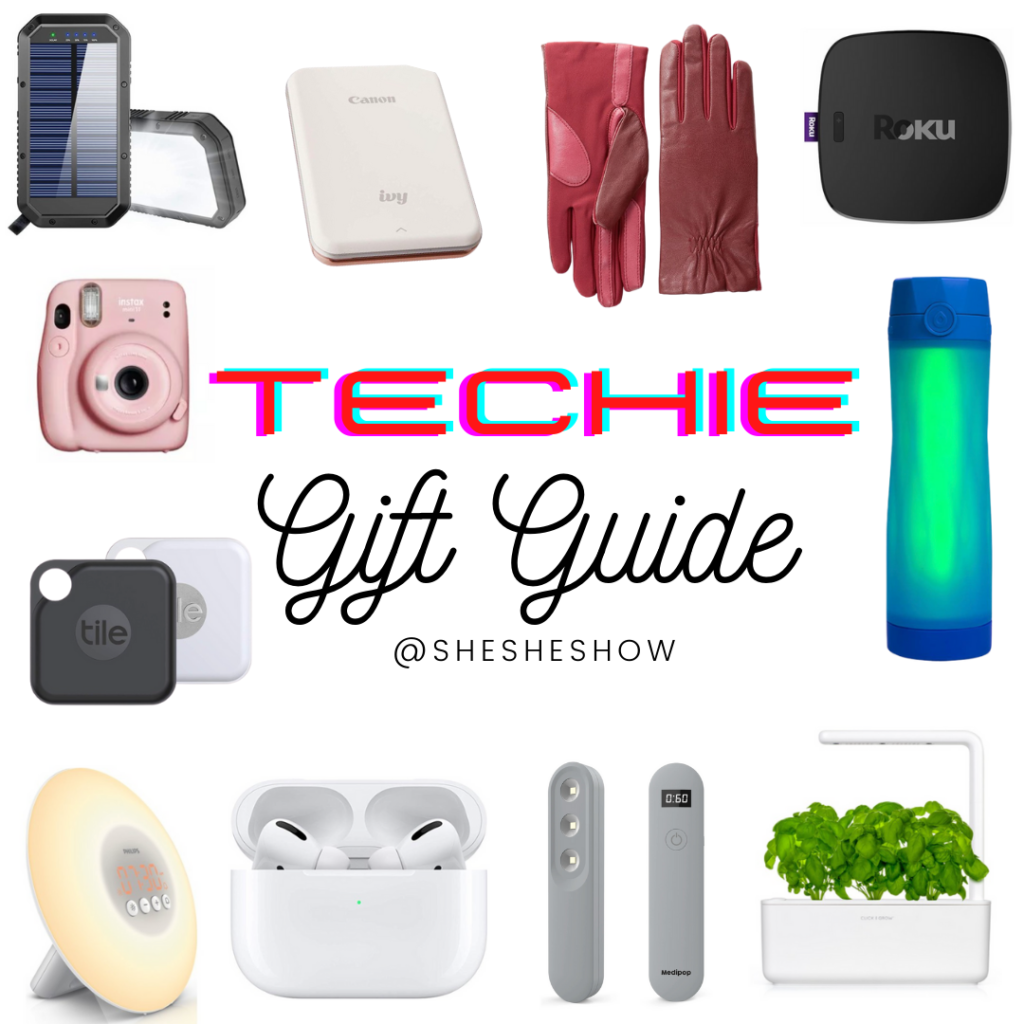 Collage of techie gifts for the holidays