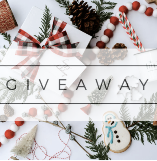 Holiday photo announcing a Giveaway