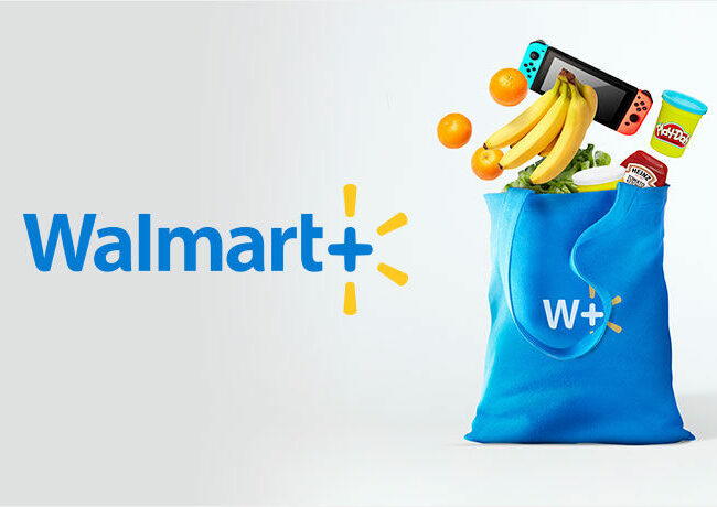 Walmart+ Image with groceries in bag
