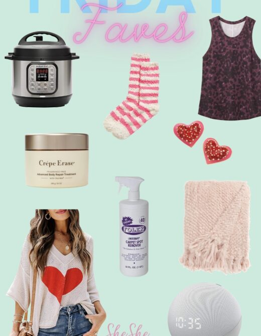 Friday Faves collage with favorite items for the week