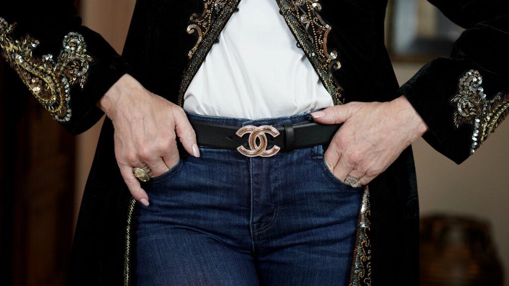 Sheree Frede of the SheSheShow black velvet duster, Chanel black leather belt